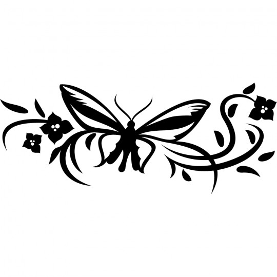 Stickers fleur papillon