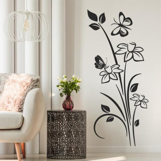 Stickers adhésif autocollant muraux mural fleur papillon