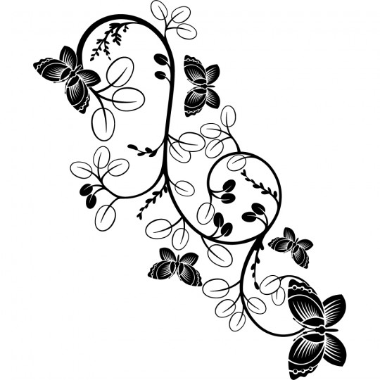 stickers fleur papillons asiatique
