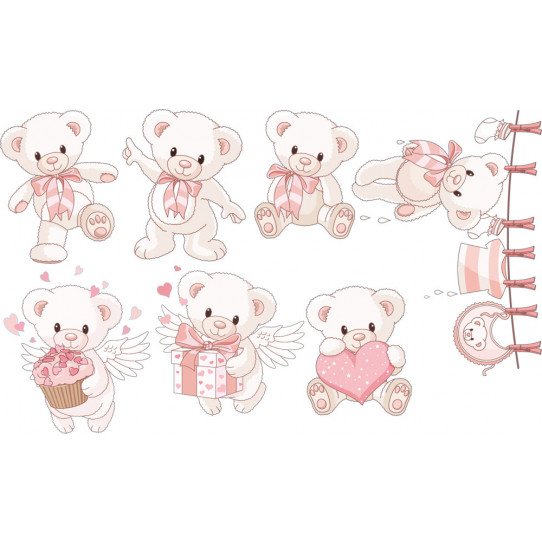 Autocollant Stickers enfant kit 7 oursons