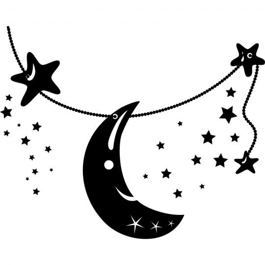 Stickers lune étoiles