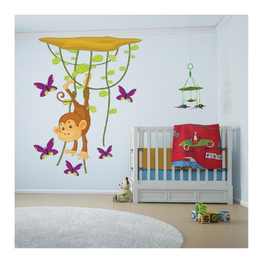 Autocollant Stickers muraux enfant singe papillon