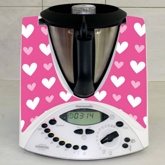 Stickers Thermomix TM31 Coeurs roses
