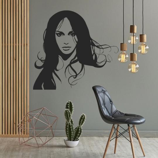Stickers adhésif autocollant muraux mural visage femme
