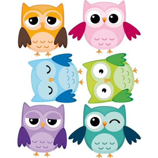 Kit stickers 6 hiboux