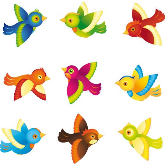 Kit stickers 9 oiseaux