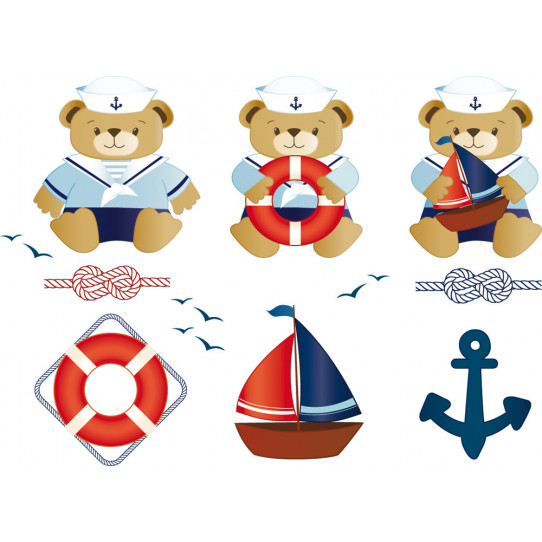 Stickers kit 3 oursons marin