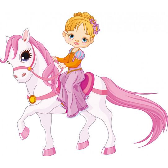 Stickers petite fille poney