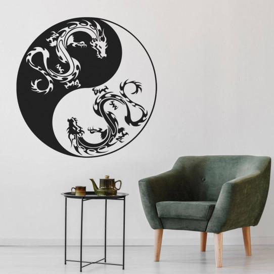 Stickers ying yang dragon